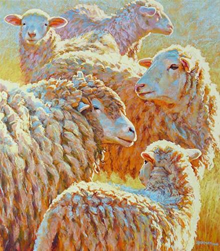 """Deep Sheep going to NYC!"" original fine art by Rita Kirkman"