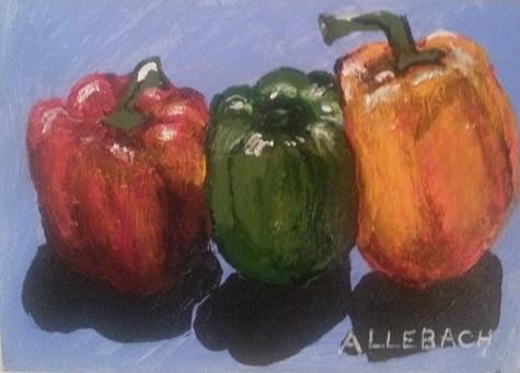 """Three Peppers"" original fine art by Jo Allebach"