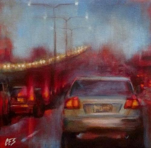"""Rainy Commute"" original fine art by ~ces~ Christine E. S. Code"