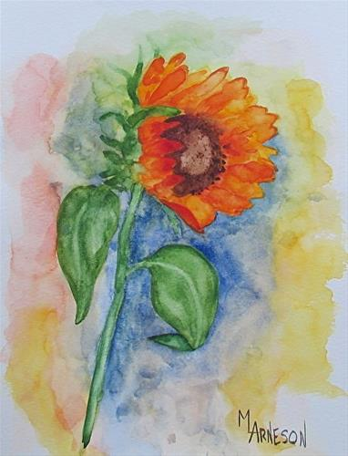 """Contemporary Flower Art Painting Sunflower, SUN KISSED FLOWER by Mary Arneson Art-Works of Whimsy"" original fine art by Mary Arneson"