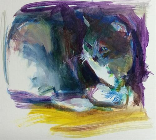 """Cat in Shadow & Light"" original fine art by Sharon Savitz"
