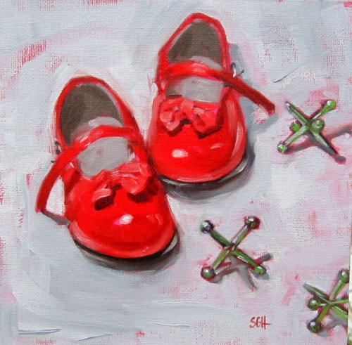 """Red patent leathers"" original fine art by Sandy Haynes"