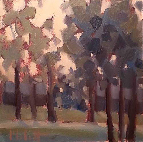"""Sunset in the Woods Muted Tones Original Daily Oil Painting"" original fine art by Heidi Malott"