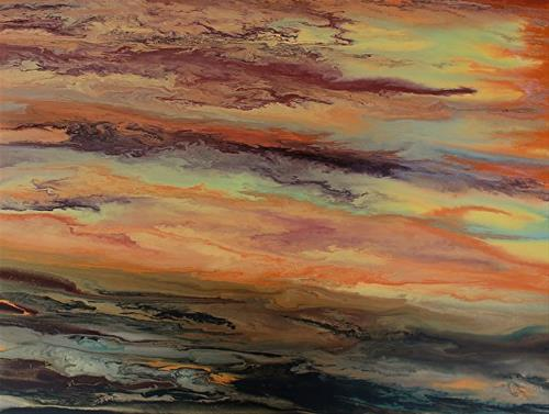 """Contemporary Abstract Landscape Sunset Art Painting Blazing Sky Reflected II by Colorado Abstract"" original fine art by Kimberly Conrad"