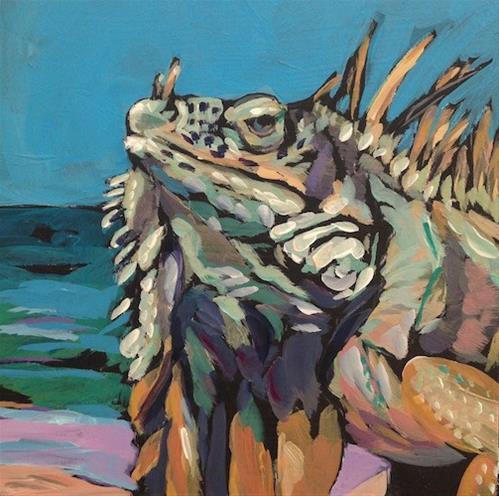 """March 10, Beach Iguana"" original fine art by Kat Corrigan"
