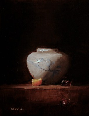 """Small Pot with Clementine Segment - study"" original fine art by Neil Carroll"
