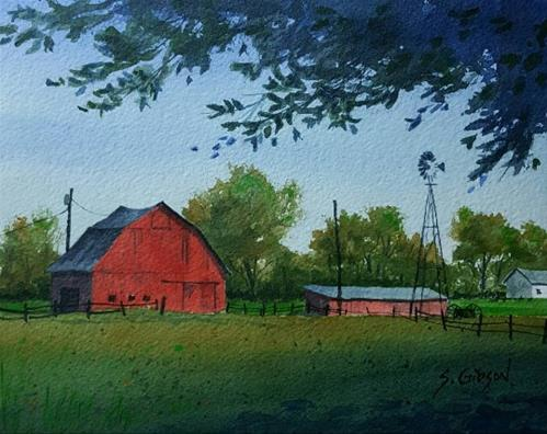 """Thomas Buerke's Farm"" original fine art by Steve Gibson"