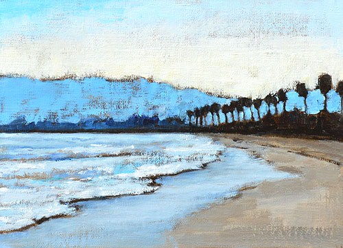 """Santa Barbara Beach Sunset"" original fine art by Kevin Inman"
