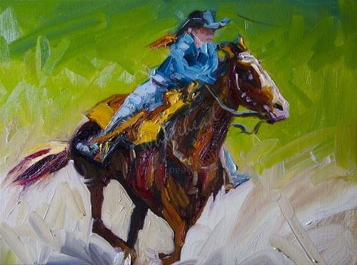 """COWGIRL ART OIL PAINTING D WHITEHEAD WESTERN"" original fine art by Diane Whitehead"