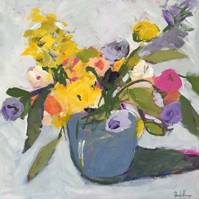 """Flowers in Grey Pot"" original fine art by Pamela Munger"