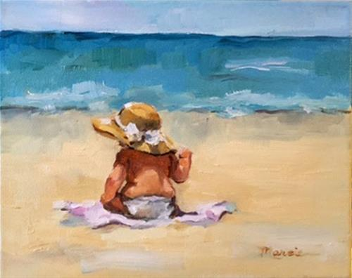"""Little Beach Beauty - SOLD"" original fine art by Marcia Hodges"