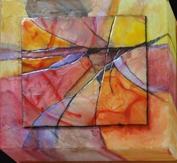 """Little Orange Abstract"" original fine art by Kara Butler English"