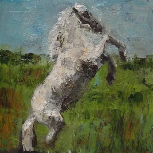 """HORSE,8"" original fine art by Run-      Zhang Zane"