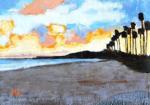 """Santa Barbara East Beach Sunset"" original fine art by Kevin Inman"