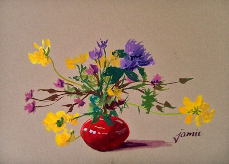 """Little Red Pot of Wildflowers"" original fine art by Jamie Williams Grossman"
