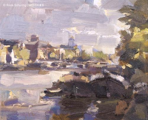 """Cityscape Amsterdam #5 Boats Amstel"" original fine art by Roos Schuring"