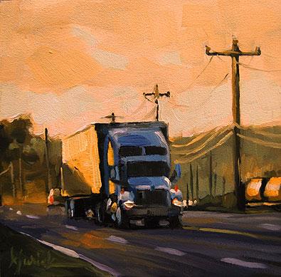 """Truckin"" original fine art by Karin Jurick"