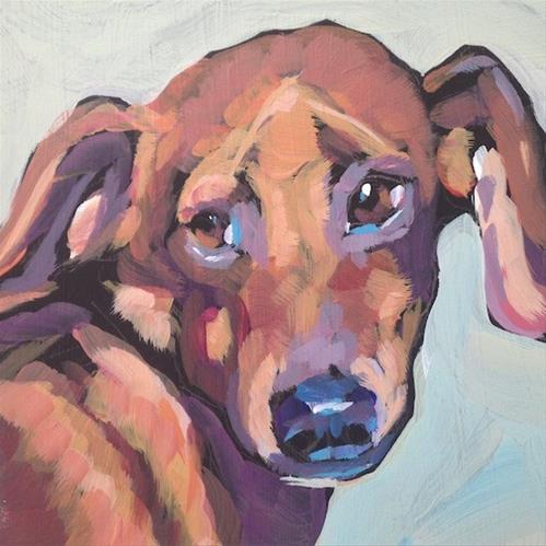 """Dachshund Glances"" original fine art by Kat Corrigan"