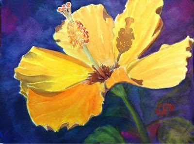 """Day 13 - Yellow Hibiscus"" original fine art by Lyn Gill"