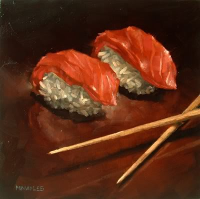 """Sushi Line Up"" original fine art by Michael Naples"