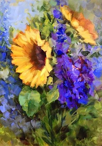 """Wildseed Sunflowers and a Dallas Arboretum Workshop by Nancy Medina"" original fine art by Nancy Medina"