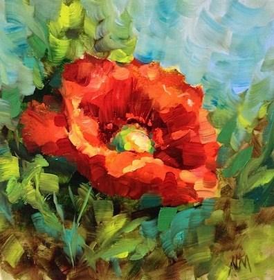 """Tuscan Poppy by Texas Flower Artist Nancy Medina"" original fine art by Nancy Medina"
