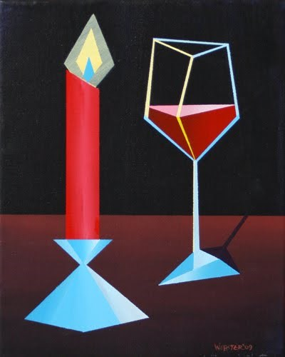 """Mark Webster - Abstract Glass of Wine by Candle Light Acrylic Painting"" original fine art by Mark Webster"