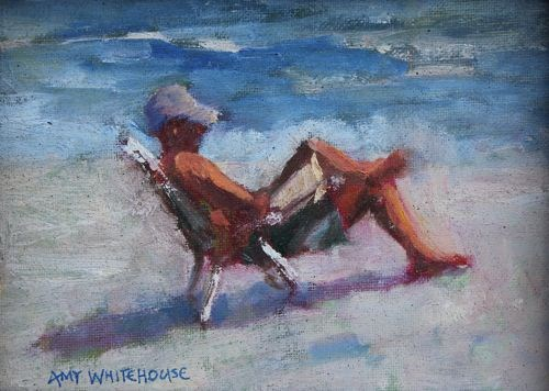 """Beach Read, Contemporary Figure Paintings by Amy Whitehouse"" original fine art by Amy Whitehouse"
