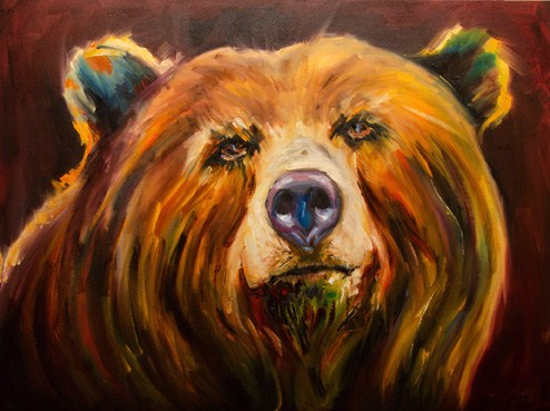 """""""ARTOUTWEST DIANE WHITEHEAD BEAR Wildlife"""" original fine art by Diane Whitehead"""