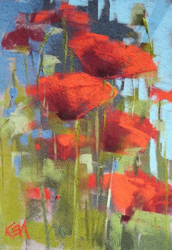 """Plein Air Poppies...a Change of Plans"" original fine art by Karen Margulis"