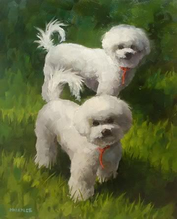 """Little Fuzzy Puppies"" original fine art by Michael Naples"