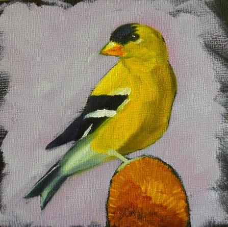 """""""Goldfinch"""" original fine art by Claire Henning"""