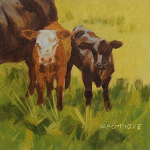 """Calves"" original fine art by Susan Ashmore"