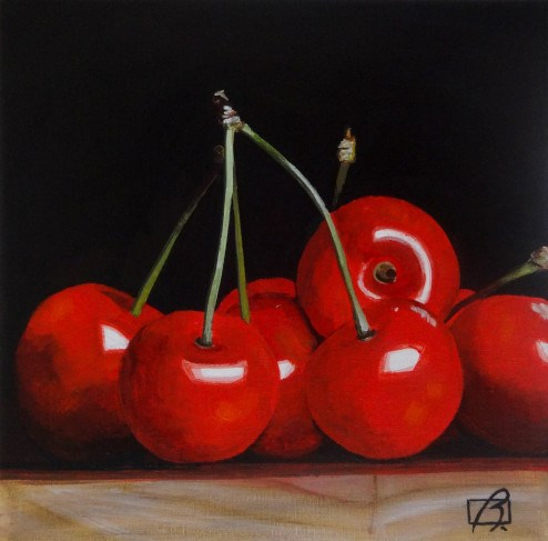 """Cherries II"" original fine art by Andre Beaulieu"