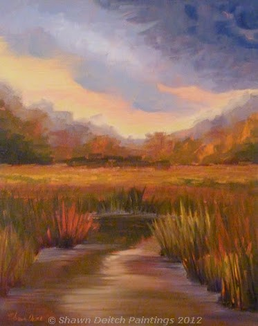 """Wetlands at Dusk"" original fine art by Shawn Deitch"