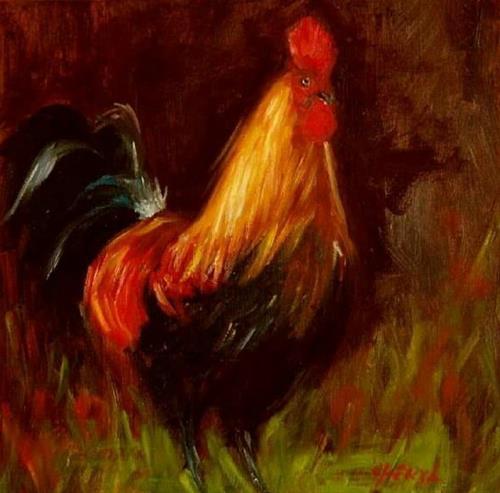 """Rooster 2"" original fine art by Cheryl Abling"