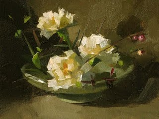 """White Carnations --- Sold"" original fine art by Qiang Huang"
