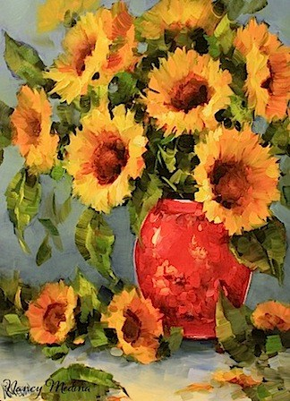 """Sunrise Sunflowers by Texas Artist Nancy Medina"" original fine art by Nancy Medina"