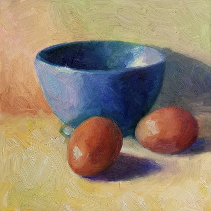 """Blue Bowl and Brown Eggs"" original fine art by Cindy Haase"