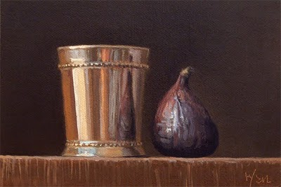 """Still Life with Silver Cup and a Fig"" original fine art by Abbey Ryan"