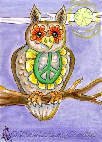 """The Peace Hippie Owl"" original fine art by Kim Loberg"