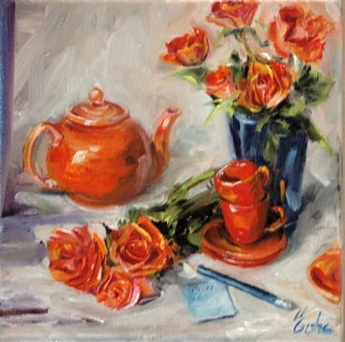 """Thé et roses"" original fine art by Evelyne Heimburger Evhe"
