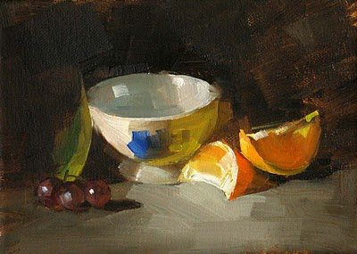 """Grapes vs. Oranges --- Sold"" original fine art by Qiang Huang"