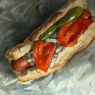 """Hot Dog Special"" original fine art by Michael Naples"