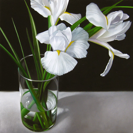 """White Iris 8x8"" original fine art by M Collier"