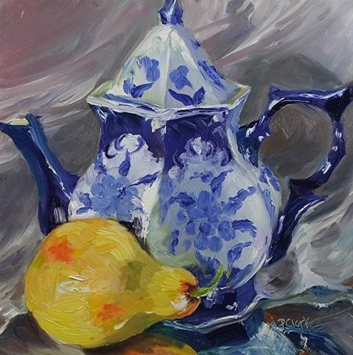 """Pear Tea, 8 x 8 Oil, Still Life"" original fine art by Donna Pierce-Clark"