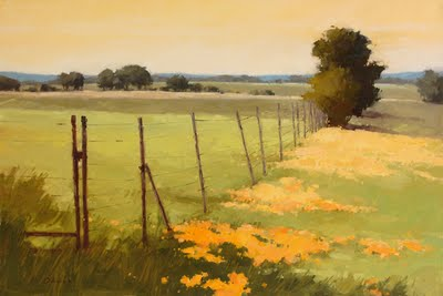 """Golden Fence Line"" original fine art by Laurel Daniel"