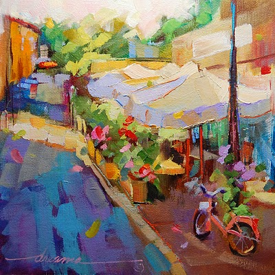 """A Perfect Day for a Slow Getaway in France"" original fine art by Dreama Tolle Perry"