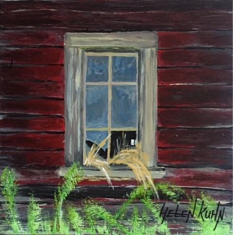 """Red Barn Window"" original fine art by Helen Kuhn"