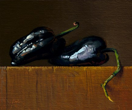 """Fresh-picked Poblano Peppers from Red Earth Farm"" original fine art by Abbey Ryan"